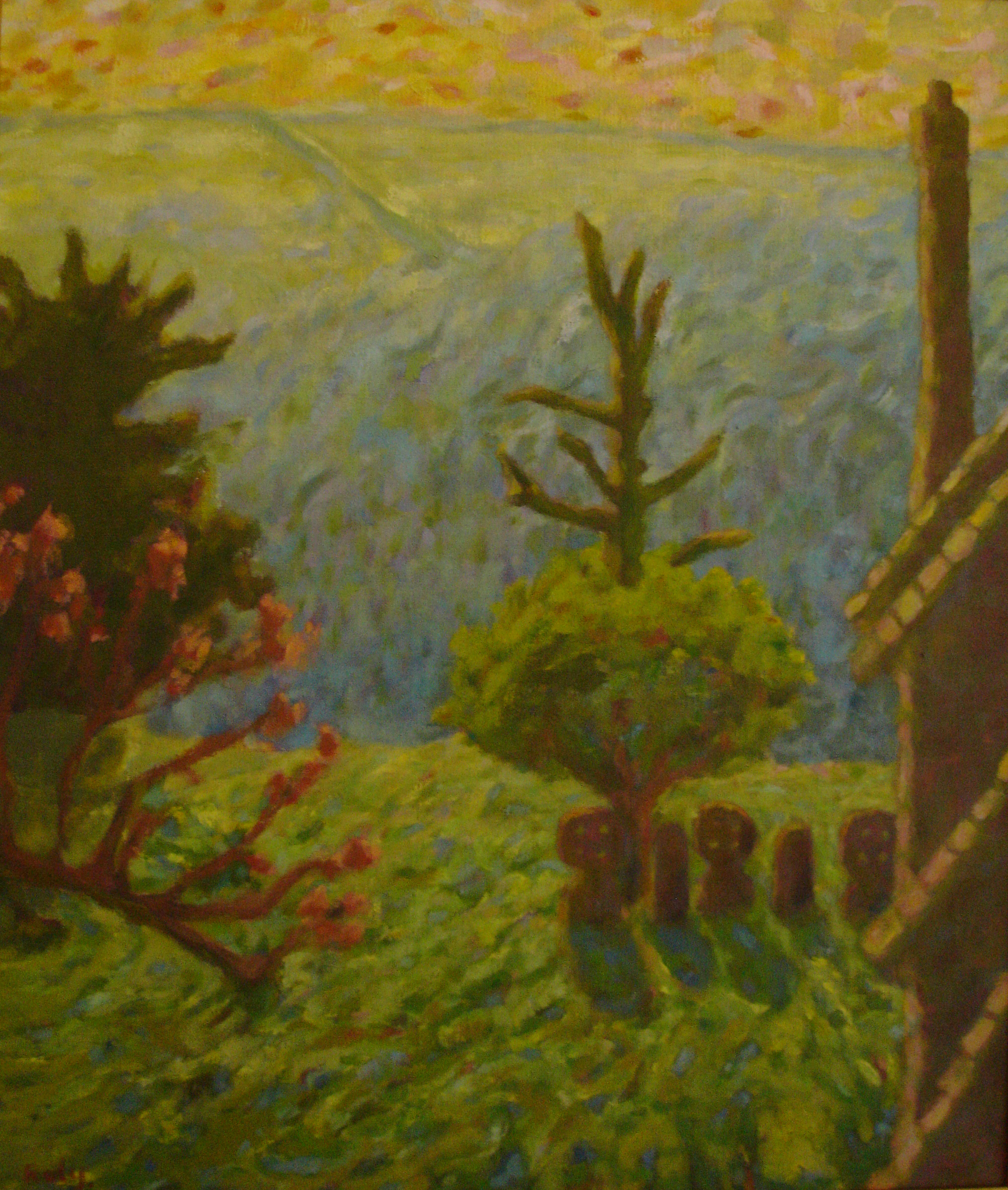 landscape with gravestones